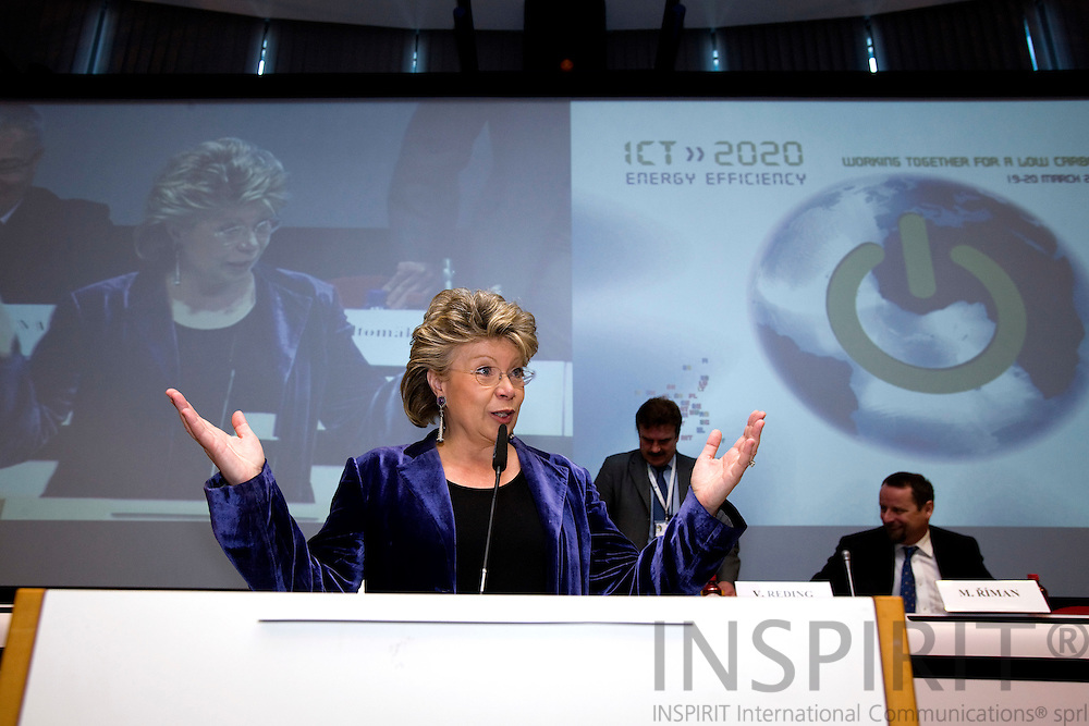 BRUSSELS - BELGIUM - 19 MARCH 2009 --  ICT for energy efficiency. Commissioner Viviane Reding.  Photo: Erik Luntang