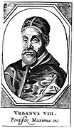 Urban VIII (Maffeo Barberini, 1568-1644) Pope from 1623.  Galileo's friend and dedicatee of his 'Il Saggiatore' who, as Pope, condemned him for his heretical theories.  Copperplate. engraving