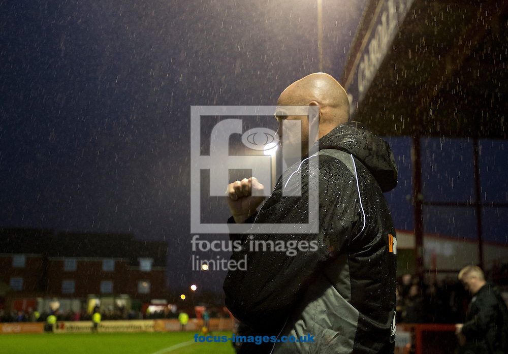 Altrincham manager Lee Sinnott clenches his fist at the final whistle following the FA Cup match at Moss Lane, Altrincham<br /> Picture by Russell Hart/Focus Images Ltd 07791 688 420<br /> 07/11/2015