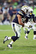 Los Angeles Chargers rookie defensive end Isaac Rochell (98) chases the action during the 2017 NFL week 1 preseason football game against the Seattle Seahawks, Sunday, Aug. 13, 2017 in Carson, Calif. The Seahawks won the game 48-17. (©Paul Anthony Spinelli)