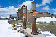 Gas pumps in front of Boone Store and Warehouse, Bodie, a ghost town, California, USA.