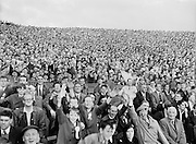 Crowds of supporters on Hill 16 during the All Ireland Senior Gaelic Football final Dublin vs Derry in Croke Park on 28th September 1958. Dublin 2-12 Derry 1-9.