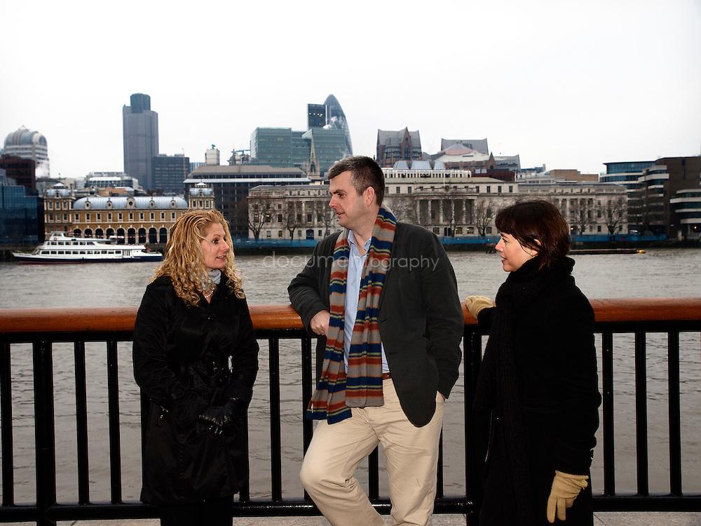 Martin Brookes, Chief Executive of New Philanthropic Capital with Head of Communication and Marketing, Sue Wixley (right) and Senior Consultant Liz Sklaroff (left), London Bridge, London, UK..