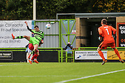 Forest Green Rovers Christian Doidge(9) attempts to head towards goal during the Vanarama National League match between Forest Green Rovers and Barrow at the New Lawn, Forest Green, United Kingdom on 1 October 2016. Photo by Shane Healey.