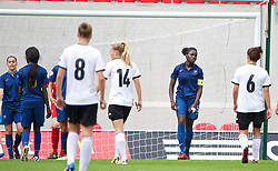 LLANELLI, WALES - Wednesday, August 28, 2013: France's Griedge M'Bock Bathy walks off dejected after being shown the red card and sent off against Germany during the Semi-Final match of the UEFA Women's Under-19 Championship Wales 2013 tournament at Parc y Scarlets. (Pic by David Rawcliffe/Propaganda)