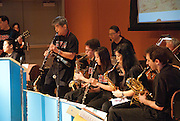 The Minidoka Swing Band performs in the Community Room at Tigard Library, Tigard, Oregon. The performance was part of the kick-off event for Oregon Reads 2009 state-wide program.