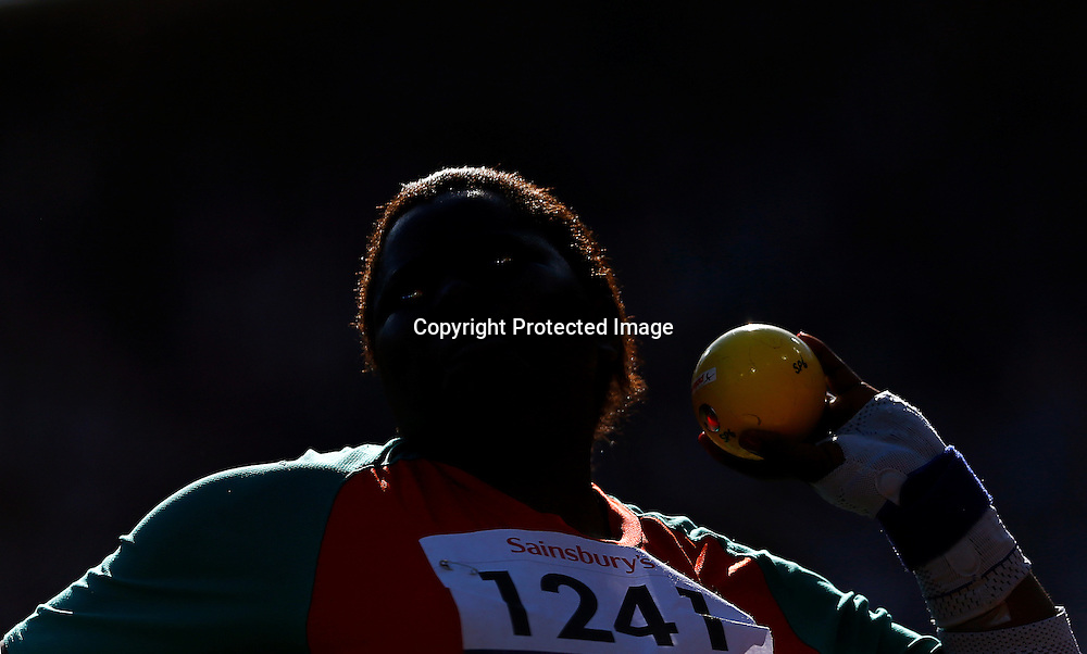 Mary Nakhumicha Zakayo of Kenya competes in Women's Shot Put F57/58 final at Olympic Stadium during the London 2012 Paralympic Games, London, Britain, 08 September 2012.  EPA/KERIM OKTEN