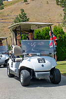KELOWNA, CANADA - JULY 21: Former goalie, Jackson Whistle drives a golf cart at the Kelowna Rockets Alumni golf tournament at Black Mountain Golf Club in Kelowna, British Columbia, Canada.  (Photo by Marissa Baecker/Shoot the Breeze)  *** Local Caption ***