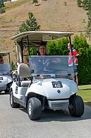 KELOWNA, CANADA - JULY 21: Former goalie, Jackson Whistle drives a golf cart at the Kelowna Rockets Alumni golf tournament at Black Mountain Golf Club in Kelowna, British Columbia, Canada.  (Photo by Marissa Baecker/Shoot the Breeze)  *** Local Caption ***