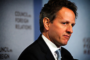 Manhattan, New York, USA, 20110426:   Treasury Secretary Timothy Geithner answers questions about the US Economy during an on-the-record conversation at the Council on Foreign Relations in New York<br /> Photo: Orjan F. Ellingvag/ Dagens Naringsliv