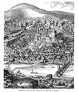 Heidelberg Castle and town viewed across the Necker river. After 1620 woodcut. Home of Frederick V Elector Palatine and  King of Bohemia (1619-20) and Elizabeth, daughter of James I and VI of England and Scotland from their marriage in 1613 until defeat of the Protestant Bohemian forces at the Battle of the White Mountain near Prague. Winter King and Queen. Gardens laid out by Salomon de Caus. Engraving.