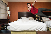 Jumping on my Bed at the Courtyard Marriott in Washington, D.C. Thursday, May 16, 2013.