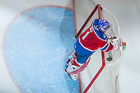 KELOWNA, CANADA - FEBRUARY 22: Patrick Dea #1 of the Edmonton Oil Kings stands in net against the Kelowna Rockets on February 22, 2017 at Prospera Place in Kelowna, British Columbia, Canada.  (Photo by Marissa Baecker/Shoot the Breeze)  *** Local Caption ***