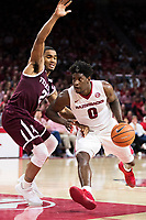 FAYETTEVILLE, AR - FEBRUARY 17:  Jaylen Barford #0 of the Arkansas Razorbacks drives against TJ Starks #2 of the Texas A&M Aggies at Bud Walton Arena on February 17, 2018 in Fayetteville, Arkansas.  The Razorbacks defeated the Aggies 94-75.(Photo by Wesley Hitt/Getty Images) *** Local Caption *** Jaylen Barford; TJ Starks