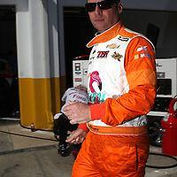 NASCAR Sprint Cup driver Dave Blaney is seen in the garage area, during a NASCAR Daytona 500 practice session at Daytona International Speedway on Wednesday, February 20, 2013 in Daytona Beach, Florida.  (AP Photo/Alex Menendez)