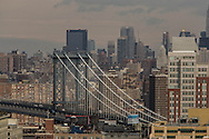 New York elevated view on Manhattan, view fom Brooklyn on the cityscape and Manhattan bridge