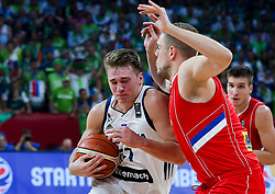 Luka Doncic of Slovenia vs Vladimir Stimac of Serbia during the Final basketball match between National Teams  Slovenia and Serbia at Day 18 of the FIBA EuroBasket 2017 at Sinan Erdem Dome in Istanbul, Turkey on September 17, 2017. Photo by Vid Ponikvar / Sportida