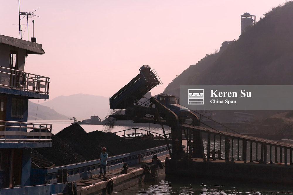 Dock for transporting coal, Qutang Gorge, Three Gorges, Yangtze River, China