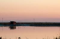 Il complesso produttivo delle saline è situato nel comune italiano di Margherita di Savoia (nome dato dagli abitanti in onore alla regina d'Italia che molto si adoperò nei confronti dei salinieri) nella provincia di Barletta-Andria-Trani in Puglia. Sono le più grandi d'Europa e le seconde nel mondo, in grado di produrre circa la metà del sale marino nazionale (500.000 di tonnellate annue).All'interno dei suoi bacini si sono insediate popolazioni di uccelli migratori e non, divenuti stanziali quali il fenicottero rosa, airone cenerino, garzetta, avocetta, cavaliere d'Italia, chiurlo, chiurlotello, fischione, volpoca. Un capanno per gli attrezzi si riflette al tramonto sulle acque di un bacino.