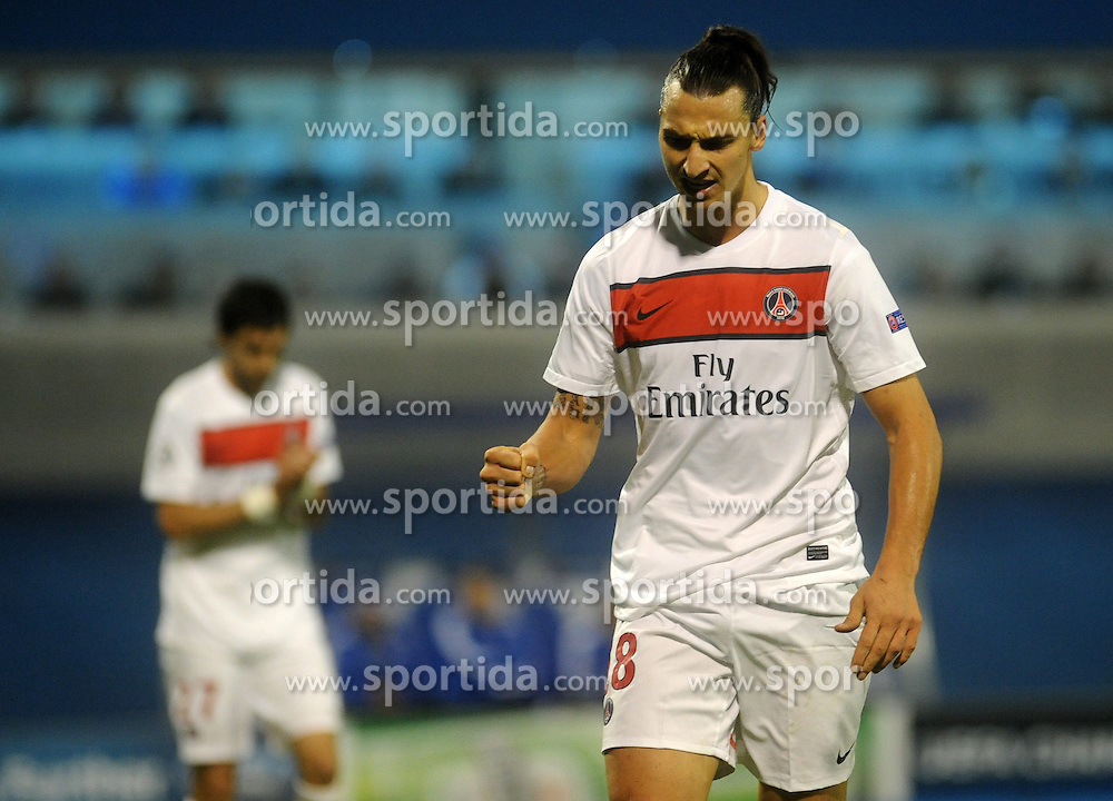 24.10.2012, Stadion Maksimir, Zagreb, CRO, UEFA CL, Dinamo Zagreb vs Paris Saint-Germain, im Bild Zlatan Ibrahimovic // during UEFA Championsleague Match between Dinamo Zagreb and Paris Saint-Germain at the Maksimir Stadium, Zagreb, Croatia on 2012/10/24. EXPA Pictures © 2012, PhotoCredit: EXPA/ Pixsell/ Daniel Kasap..***** ATTENTION - OUT OF CRO, SRB, MAZ, BIH and POL *****