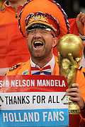 CAPE TOWN, SOUTH AFRICA- Tuesday 6 July 2010, a Dutch fan thanks Nelson Mandela during the semi final match between Uruguay and the Netherlands (Holland) held at the Cape Town Stadium in Green Point during the 2010 FIFA World Cup..Photo by Roger Sedres/Image SA