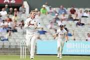 Essexs S Harmer celebrates his wicket during the Specsavers County Champ Div 1 match between Lancashire County Cricket Club and Essex County Cricket Club at the Emirates, Old Trafford, Manchester, United Kingdom on 9 June 2018. Picture by George Franks.