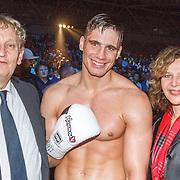 NLD/Amsterdam/20151204 - Freefightgala Glory26, burgemeester Eberhard van der Laan, Rico Verhoeven en minister Edith Schippers