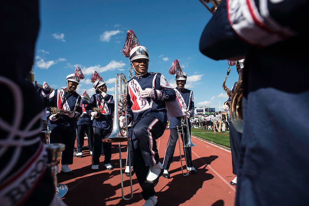 WASHINGTON,DC - October 7, 2017: Christian Keith on trombone gets his band members amped up before the halftime show.<br /> Howard University's Showtime Marching Band is part of a long tradition of outstanding bands at HBCU's. The band practices in the days leading up to a home game against North Carolina Central. (Andr&eacute; Chung for The Undefeated)