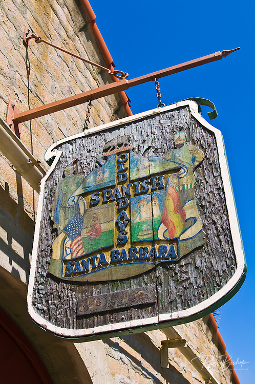 Wooden sign at the Old Spanish Days Carriage Museum, Santa Barbara, California