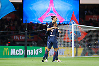 Lucas Rodrigues Moura da Silva (psg) scored a goal and celebrated it with Zlatan Ibrahimovic (psg) during the French Championship Ligue 1 football match between Paris Saint Germain and FC Nantes on May 14, 2016 at Parc des Princes stadium in Paris, France - Photo Stephane Allaman / DPPI