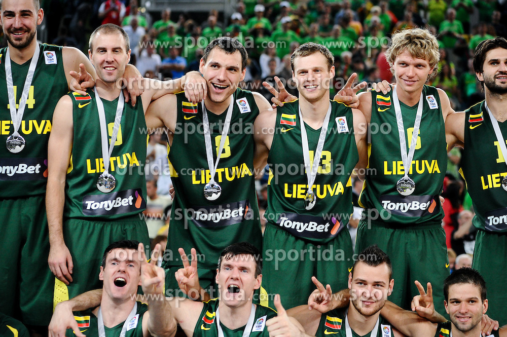 Players of Lithuania at trophy ceremony after the basketball match between National teams of France and Lithuania in Final game at Day 19 of Eurobasket 2013 on September 22, 2013 in Arena Stozice, Ljubljana, Slovenia. (Photo by Vid Ponikvar / Sportida)
