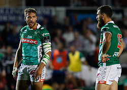 Benetton Treviso's Tommaso Benvenuti with team-mate Jayden Hayward<br /> <br /> Photographer Simon King/Replay Images<br /> <br /> Guinness PRO14 Round 1 - Dragons v Benetton Treviso - Saturday 1st September 2018 - Rodney Parade - Newport<br /> <br /> World Copyright © Replay Images . All rights reserved. info@replayimages.co.uk - http://replayimages.co.uk