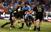 Blade Thomson, of the Hurricanes, Sam Lousi, of the Hurricanes , RG Snyman, of the Vodacom Bulls ,Lood de Jager, of the Vodacom Bulls  and Alex Fidow, of the Hurricanes  during the 2018 Super Rugby game between the Bulls and the Hurricanes at Loftus Versveld, Pretoria on 24 February 2018.<br /> Copyright photo: Catherine Kotze/BackpagePix / www.photosport.nz