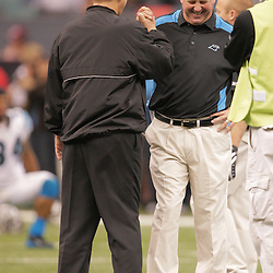 2008 December, 28: New Orleans Saints head coach Sean Payton and Carolina Panthers head coach John Fox meet on the field  prior to kickoff of a week 17 game between NFC South divisional rivals the Carolina Panthers and the New Orleans Saints at the Louisiana Superdome in New Orleans, LA.