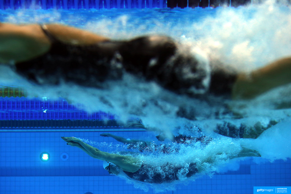 An underwater view of Julia Hassler, Liechtenstein, in action at the start of a Women's 800m freestyle heat at the Aquatic Centre at Olympic Park, Stratford during the London 2012 Olympic games. London, UK. 1st August 2012. Photo Tim Clayton