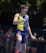 Jun 30, 2019; Stanford, CA, USA; Armand Duplantis aka Mondo Duplantis (SWE) celebrates after winning the  pole vault in 19-5 1/2 (5.93m) during the 45th Prefontaine Classic at Cobb Track & Angell Field.