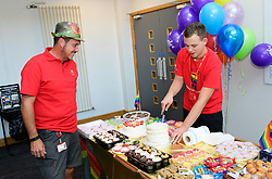 Pictured is Matt Bellamy serving Nick Brown.<br /> <br /> Royal Mail's Peterborough Mail Centre held their first ever Pride Day to raise money for the Albert Kennedy Trust.  The charity specialises in homelessness amongst the LGBT community, particularly aged 16-25. <br /> <br /> Picture: Chris Vaughan Photography<br /> Date: August 25, 2017
