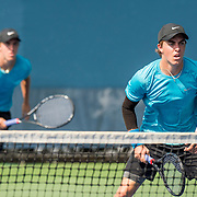 August 21, 2016, New Haven, Connecticut: <br /> Hunter Johnson and Yates Johnson in action during a US Open National Playoffs match at the 2016 Connecticut Open at the Yale University Tennis Center on Sunday, August  21, 2016 in New Haven, Connecticut. <br /> (Photo by Billie Weiss/Connecticut Open)
