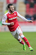 Anthony Forde (Rotherham United) watches his pass out to the wing as he runs into the box during the EFL Sky Bet Championship match between Rotherham United and Blackburn Rovers at the AESSEAL New York Stadium, Rotherham, England on 11 February 2017. Photo by Mark P Doherty.