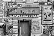 Detail of exterior building of the old general store showing old signs<br /> Rosseau<br /> Ontario<br /> Canada