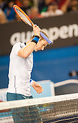 Andy Murray of Great britain faced R. Federer of Switzerland in Day 10 of the 2014 Australian Open. Murray started off flat losing the first two sets but coming back to claim a third. The deciding set went to Federer with a score of 6-3, 6-4, 6-7 (6), 6-3. The match was held at Melbourne's Rod Laver Arena.