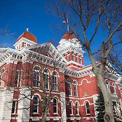 Crown Point Indiana Lake County Courthouse photo. The Lake County Courthouse was built in 1878 and is nicknamed The Grand Old Lady. The courthouse architecture is Romanesque and Georgian. Today it's used for events and has a ballroom and restaurants.