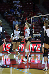13 October 2011: Leighann Hranka and Emily Schneider celebrate a point during an NCAA volleyball match between the Indiana State Sycamores and the Illinois State Redbirds at Redbird Arena in Normal Illinois.