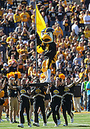 September 21 2013: Iowa Hawkeyes mascot Herky takes the field before the start of the NCAA football game between the Western Michigan Broncos and the Iowa Hawkeyes at Kinnick Stadium in Iowa City, Iowa on September 21, 2013. Iowa defeated Western Michigan 59-3.