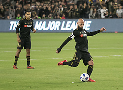 April 29, 2018 - Los Angeles, California, U.S - Laurent Ciman #23 of the LAFC kicks a free  kick that leads to the winning goal during their MLS game against the Seattle Sounders on Sunday April 29, 2018, their first game at the Banc of California Stadium in Los Angeles, California. LAFC defeats Sounders, 1-0. (Credit Image: © Prensa Internacional via ZUMA Wire)
