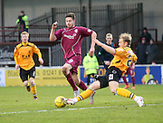 Arbroath's Greg Rutherford is tackled by Annan's Bryan Gilfillan - Arbroath v Annan Athletic, Ladbrokes SPFL League two at Gayfield<br /> <br />  - &copy; David Young - www.davidyoungphoto.co.uk - email: davidyoungphoto@gmail.com