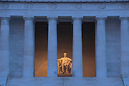Washington DC, District of Columbia. The Lincoln Memorial, designed by Henry Bacon, stands at the west end of the National Mall as a neoclassical monument to the 16th President These United States page 121