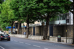 © Licensed to London News Pictures. 04/07/2017. London, UK. New security barriers which have been installed around Lord Cricket ground in St John's Wood, north London ahead of a cricket test match between England and South Africa which starts on Thursday (July 6th). The barriers run along a stretch of road already heavily lined with trees. Photo credit: Ben Cawthra/LNP