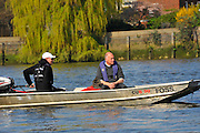 London, UK,  2014 Varsity, Annual Tideway Week. CUBC, Cambridge University Boat Club, Roger STEPHENS, Chairman (right), with Steve TRAPMORE, Chief Coach (left), in coaching launch. 09:37:00  Tuesday  01/04/2014  : [Mandatory Credit Intersport Images]