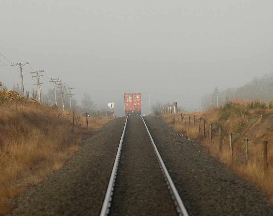 Train in early morning fog, North Canterbury, New Zealand, Friday, July 06, 2012.  Credit:SNPA / Pam Johnson